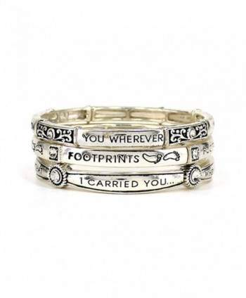 Footprints in the Sand.. Matthew 8:19 Inspirational Multi Layer Stretch Bracelet by Jewelry Nexus - CQ11O663LCZ
