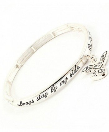 Accessory Accomplice Silvertone Guardian Angel Charm Engraved Stretch Bangle Bracelet - CW11DCMIYRL