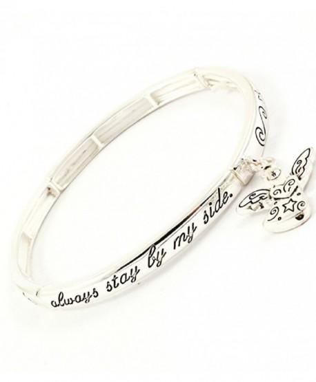 Accessory Accomplice Silvertone Guardian Angel Charm Engraved Stretch Bangle Bracelet - CW11DCMIYRL