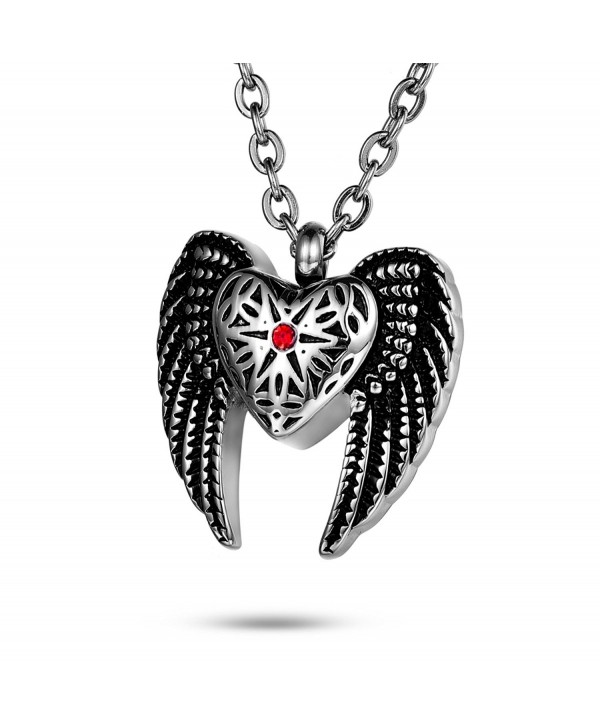 FCZDQ Ashes Necklace Crystal in Star & Angel Wing Memorial Pendant Urn Cremation Jewelry - Red - CH183O39074