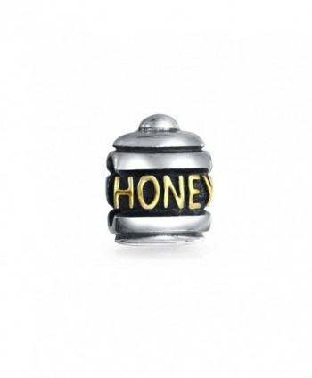 Bling Jewelry Honey Pot Charm Gold Plated 925 Sterling Silver Food Bead for Message Bracelets - CY115N5MPG1