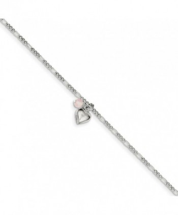 Top 10 Jewelry Gift Sterling Silver Cherry Quartz & Dangling Hearts on Figaro Link Anklet - C911OP37EQ3