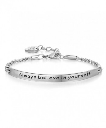 Annamate Engraved yourself Inspirational Bracelet - White Gold - CN184RNTO7Q