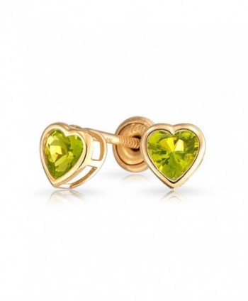 Bling Jewelry Simulated Peridot August Birthstone CZ Heart Baby Safety Stud earrings 14k Gold 4mm - CQ11ESOCIND