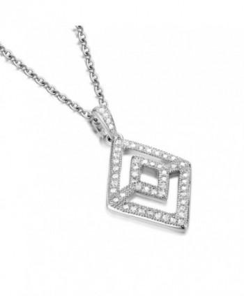 GTN2250 S925 Silver CZ Stones Rhombus Shaped Pendant & 18'' Chain Rhodium Plated - C3126UOVFR3