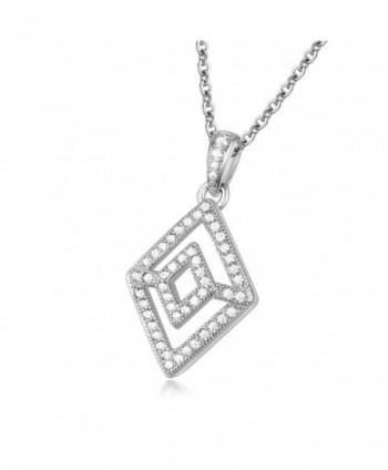 GTN2250 Silver Rhombus Pendant Rhodium