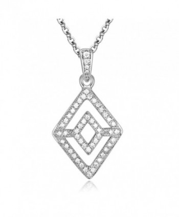 GTN2250 Silver Rhombus Pendant Rhodium in Women's Pendants