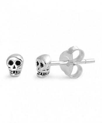 Sterling Silver Tiny Skull Stud Earrings - 4mm - C411HOJGU1F