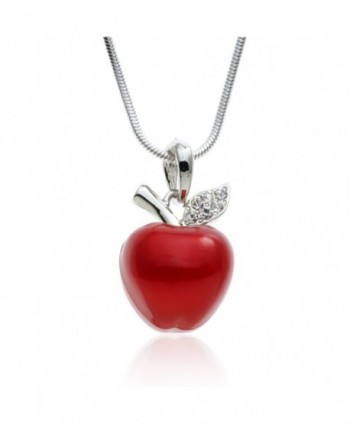 "PammyJ Candy Red Apple Silvertone Pendant Necklace- 18"" - CS11P1X5R9H"