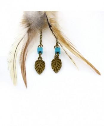 Womens Vintage Feather Earrings Turquoise in Women's Drop & Dangle Earrings