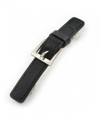 Black Faux Leather 'Buckle' Barrette Hair Clip Grip - 105mm Across - CB11HJR1ZYJ