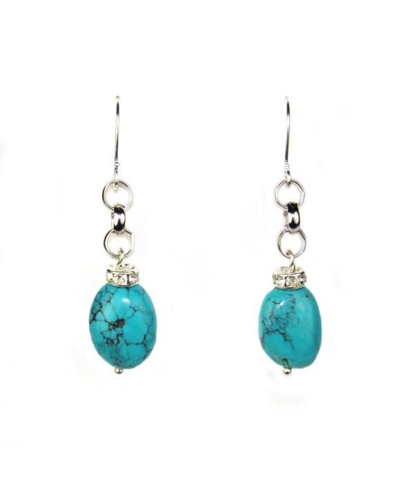 Composed Turquoise and Crystal Rondell Dangle Earrings. Assembled in the U.S.A. - CD12LZCC4JX
