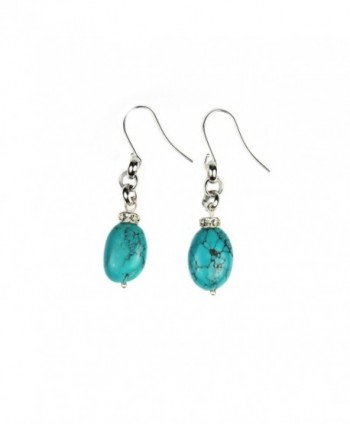 Composed Turquoise Crystal Earrings Assembled in Women's Drop & Dangle Earrings