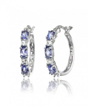 Sterling Silver 5x3mm Oval Gemstone & Princess-cut White Topaz Filigree Hoop Earrings - Tanzanite & White Topaz - C3186E7IOTX