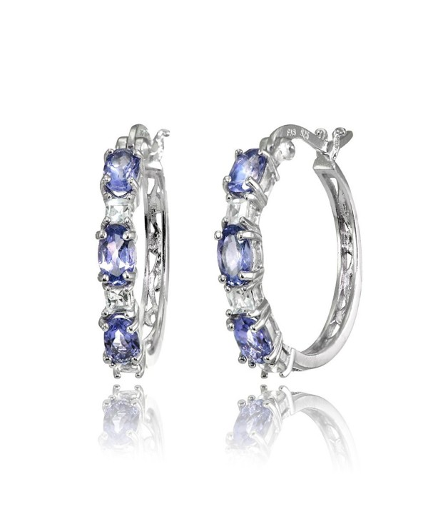 Sterling Silver 5x3mm Oval Gemstone & Princess-cut White Topaz Filigree Hoop Earrings - Tanzanite & White Topaz - C3186E7IOTX