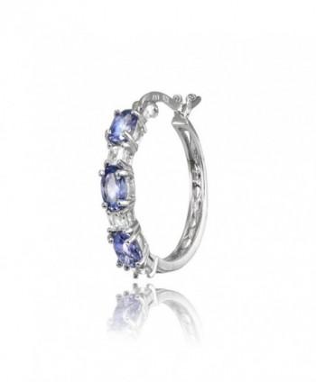 Sterling Tanzanite Princess cut Filigree Earrings in Women's Hoop Earrings