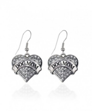 Dog Mom Pave Heart Earrings French Hook Clear Crystal Rhinestones - CA1240JXTVZ
