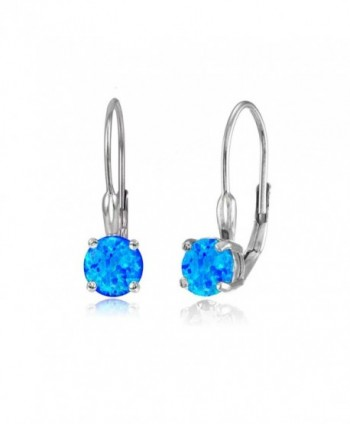 Sterling Silver Created Opal 6mm Round Leverback Earrings - Created Blue Opal - CK12EL2HTVH