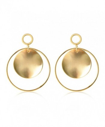 Gold Silver Hoop Earrings with Disc Stainless Steel Statement Dangle Earrings for Women Girls - Gold - C3183AO7EOM
