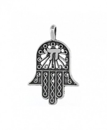 Sterling Silver Hamsa Chamsa Necklace- 3/4 inch - CM111FIX2PD