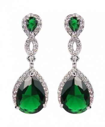 EVER FAITH Austrian Crystal Zircon Wedding 8-Shaped Pierced Dangle Earrings - Silver-Tone Emerald Color - C811ID4X4VT