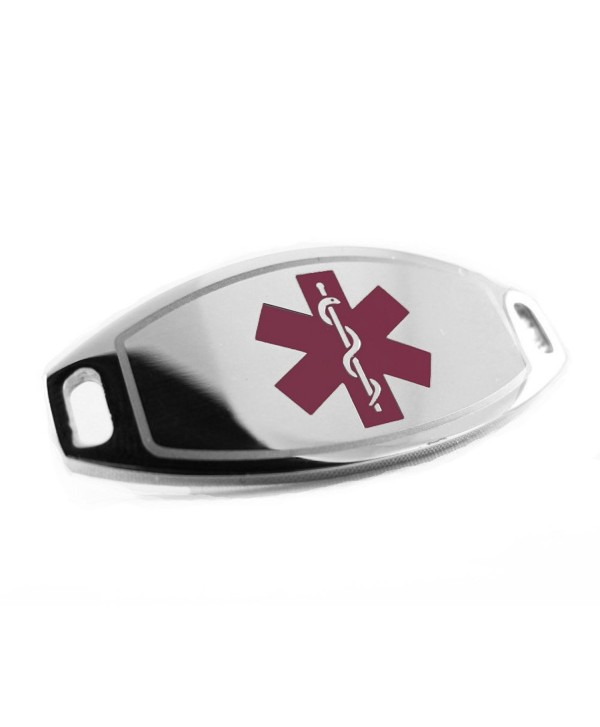 MyIDDr - Pre-Engraved & Customized Steel On Blood Thinners Medical ID- Attachable to Bracelet- Purple - C6116KGJOVB