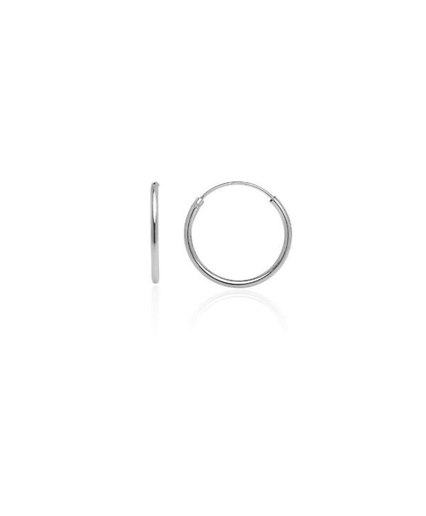 Hoops & Loops Sterling Silver 1.2mm Endless Hoop Earrings- 16mm - CU12HVGFOGH