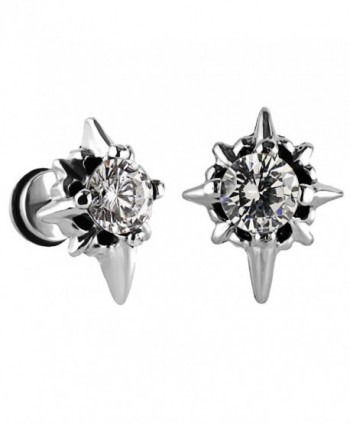 Charisma Unisex Stainless Zirconia Earrings - 01) White (Steel) - C912BCRVIH5