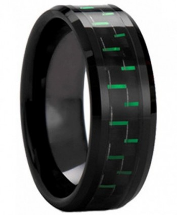 Black Plated Tungsten Carbide Black Green Carbon Fiber Inlay Men's Ring Wedding Band - CJ12GVT1ISD