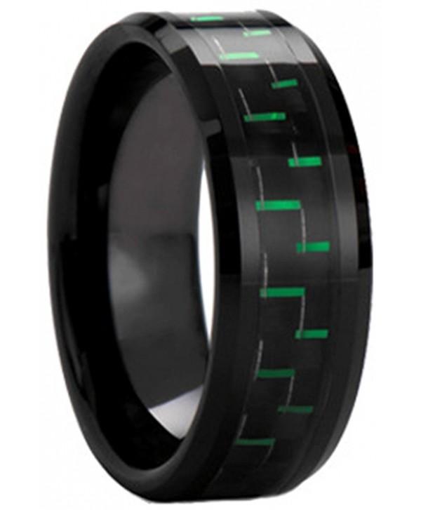 551580a58047f Black Plated Tungsten Carbide Black Green Carbon Fiber Inlay Men's Ring  Wedding Band - CJ12GVT1ISD