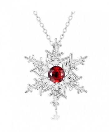 "Sterling Silver Snowflake Pendant w/ Genuine Natural Gemstone Garnet- Blue & White Topaz w/ 18"" Chain - C7127SK6OYR"