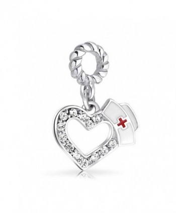 Bling Jewelry Nurse Hat Heart Shaped Dangle Bead Charm .925 Sterling Silver - CA11G09TOWH