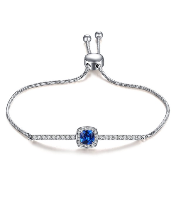Vibrille Adjustable Cubic Zirconia and Cushion-Cut Created Blue Sapphire Bolo Bracelets for Women- 9'' - CG185L4QO79