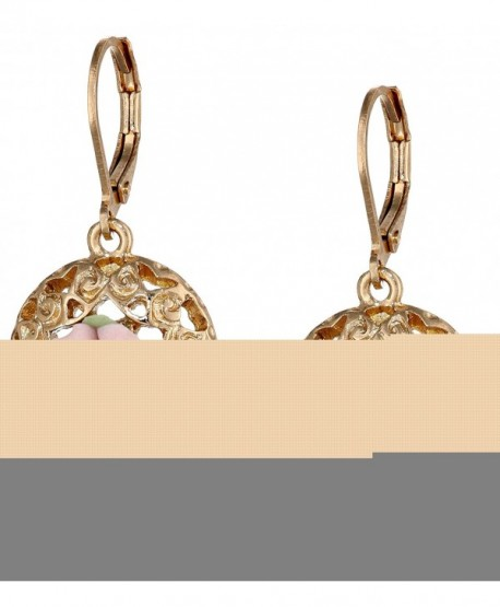 1928 Jewelry Porcelain Rose Collection Gold-Tone Pink-Porcelain Drop Earrings - C111K5SVZYT
