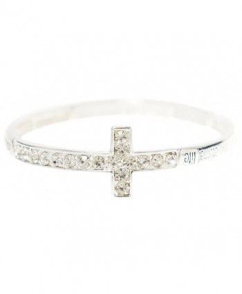 Christian Bracelet - Silver Tone Bible Scripture Sideways Cross Stretch Bracelet - Kiki's John 3:16 - CZ11TPZ3ML7