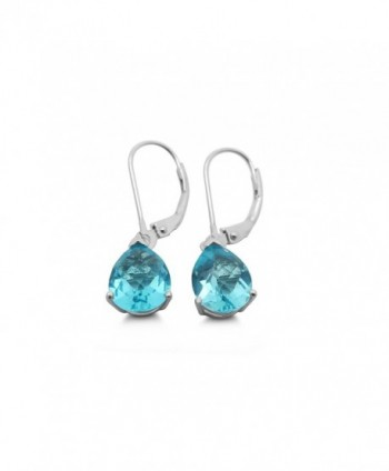 Helenite Pear Leverback Earrings - 2.4 CT Total Gaia Stone - 925 Sterling Silver Post - Blue - C91874U3WX2