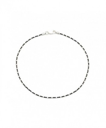 Finejewelers 10 Inches Ankle Bracelet with Black Rhodium Sterling Silver - C811962G135