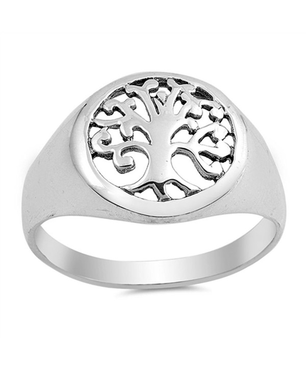 Filigree Tree of Life Cutout Ring New .925 Sterling Silver Band Sizes 5-10 - CA12HBSIU3T