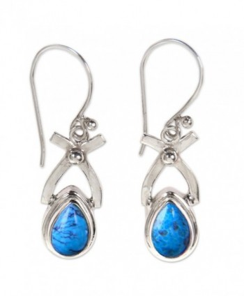 NOVICA Natural Turquoise and .925 Sterling Silver Dangle earrings- 'Temptations' - CP11123OV7J