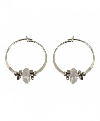 Bali Sky Small Sterling Silver Sparkling Clear Bead Hoop Earrings SHS013 - C211LPUMJZF
