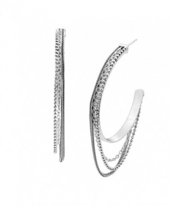 "Silpada 'High Life' Sterling Silver Hoop Earrings- 2.5"" - CF12N37F31M"
