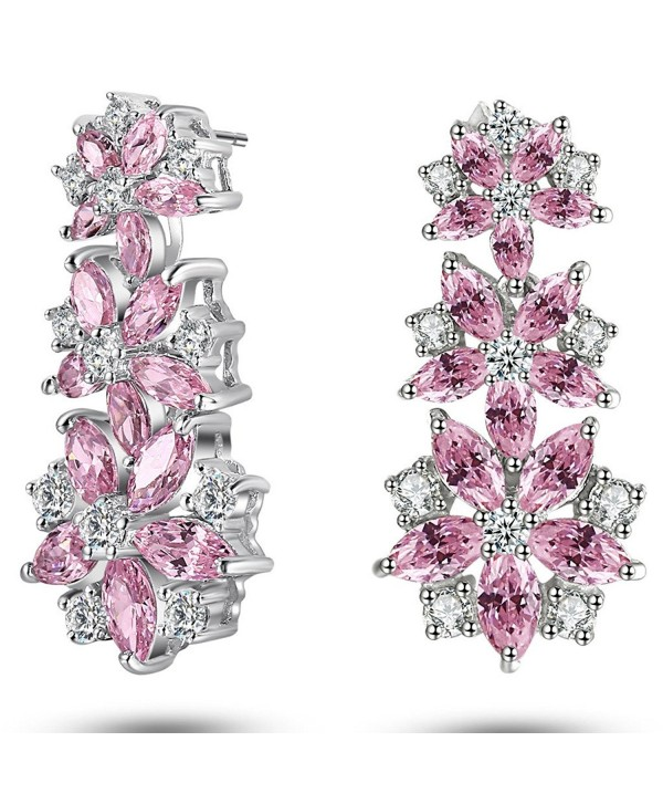 Caperci Sterling Silver Cubic Zirconia and Created Gemstone Earrings with 3 Dangle Flowers - Pink - CC12B1CFQTH