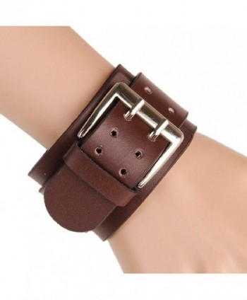 SusenstoneRetro Wide Leather Bracelets Double Buckle Bracelet - CN124PQN2O7