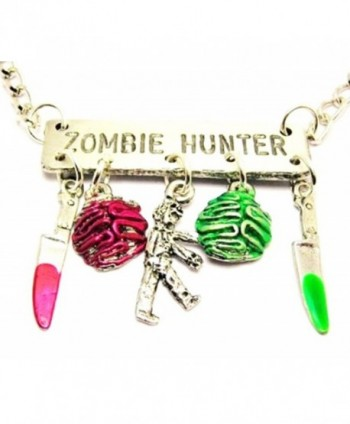 "ChubbyChicoCharms Zombie Hunter With Zombies- Knives And Brains Platform Statement 18"" Necklace - C411BM5G7KL"