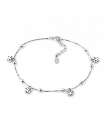LovelyCharms 925 Sterling Silver Open Butterflies Chain Anklet Ankle Bracelets - C512IJ65U3F