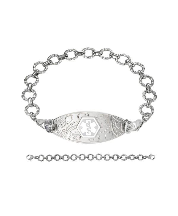Divoti Custom Engraved Lovely Filigree Medical Alert Bracelet -Fancy Link Chian-White - CG189Y590DK