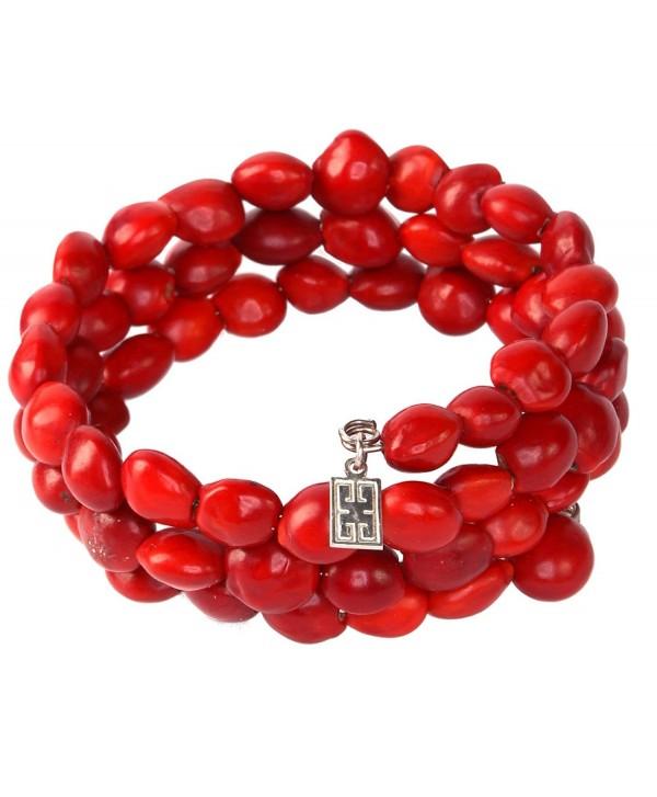 Peruvian Bracelet for Women - Red Seeds- Wrap - Handmade Ecofriendly Jewelry by Evelyn Brooks - CE12EMDWHPD