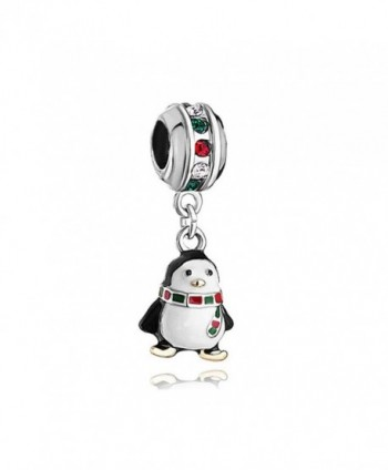 LovelyJewelry Penguin Charm White Drip Gum scarf colorful crystal Beads For Bracelet - CQ12N2O5JMQ
