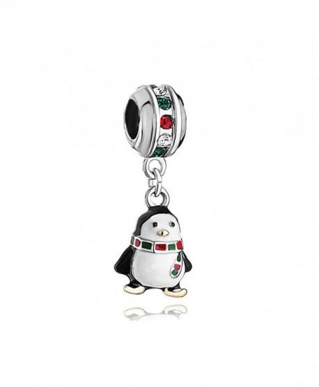 LovelyJewelry Penguin Charm White Drip Gum scarf colorful crystal Beads For Bracelet - CQ12N2O5JMQ