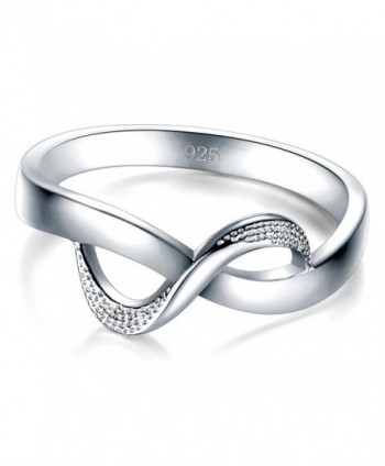 925 Sterling Silver Ring High Polish Infinity Symbol Tarnish Resistant Comfort Fit Wedding Band Ring - C8182L6EYIN